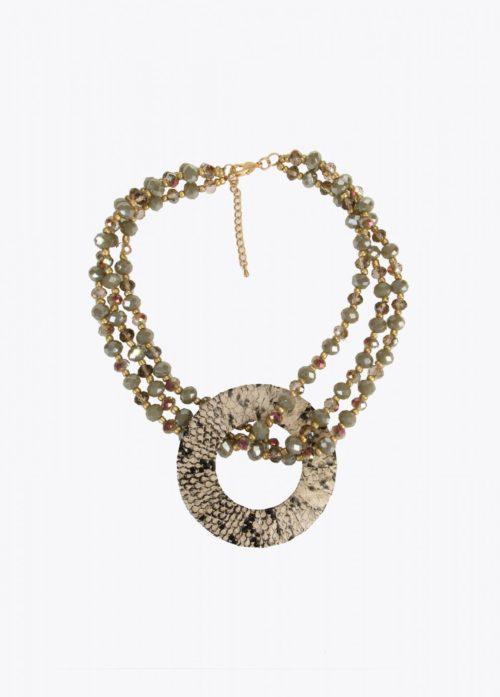 collar piedras facetadas print serpiente