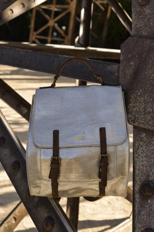 mochila lona vintage plata