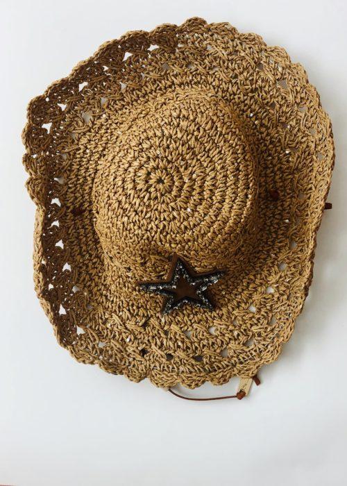 Sombrero pepori estrella marron