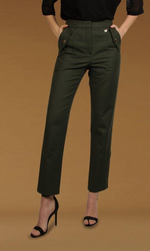 pantalon kaki detalles dorado moda mujer