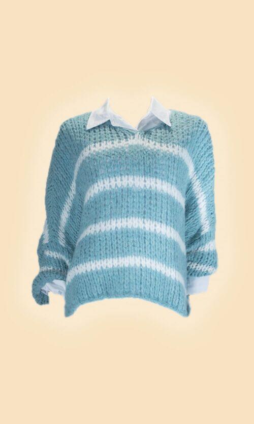jersey rayas pico moda mujer