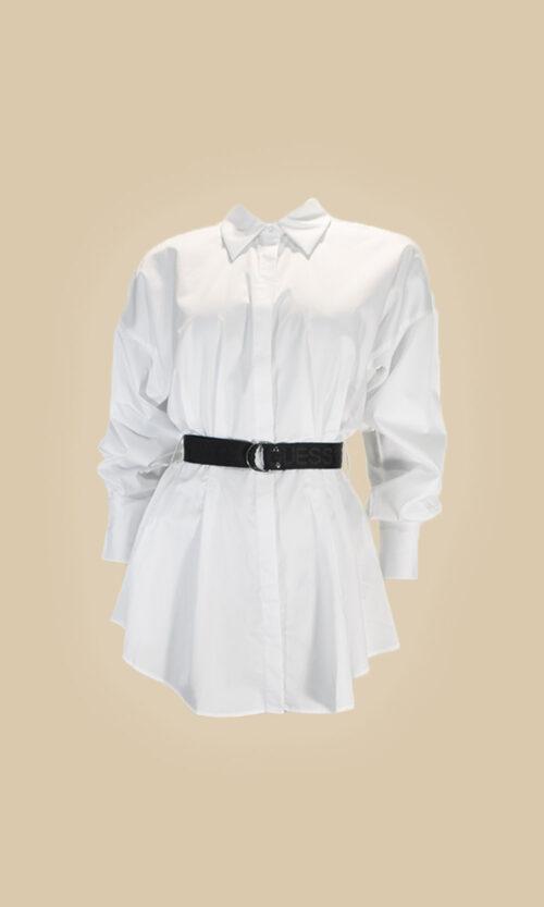 Camisa blanca cinturon guess moda mujer