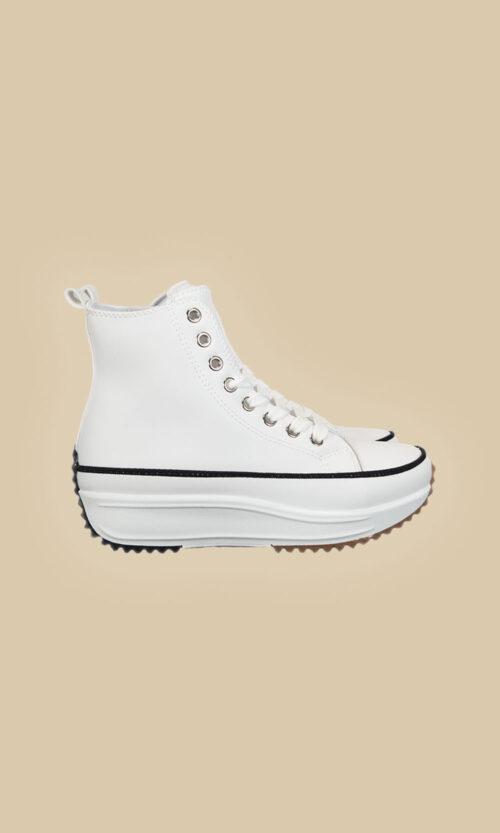 Zapatillas tipo converse lateral loneta blanca moda mujer