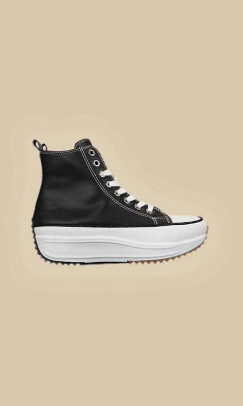 Zapatillas tipo converse lateral negra moda mujer