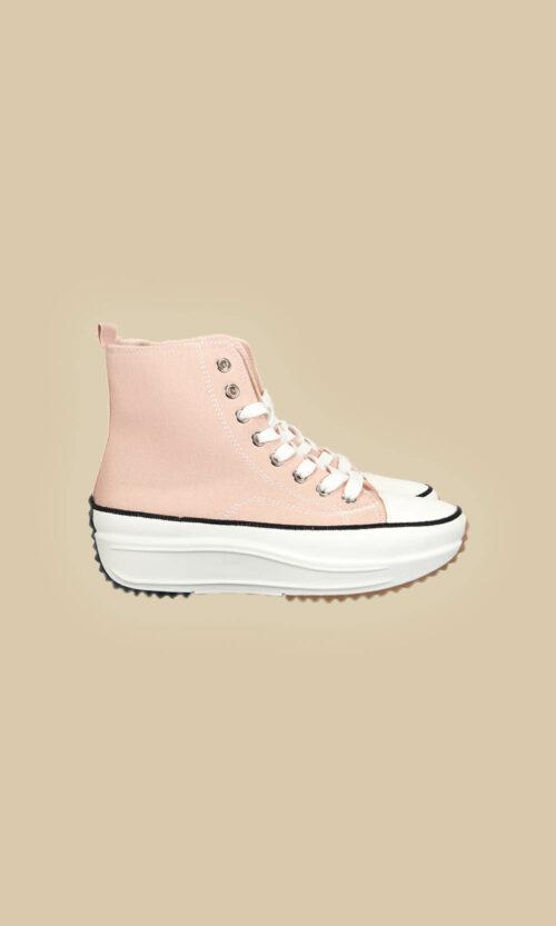 Zapatillas tipo converse loneta rosa moda mujer