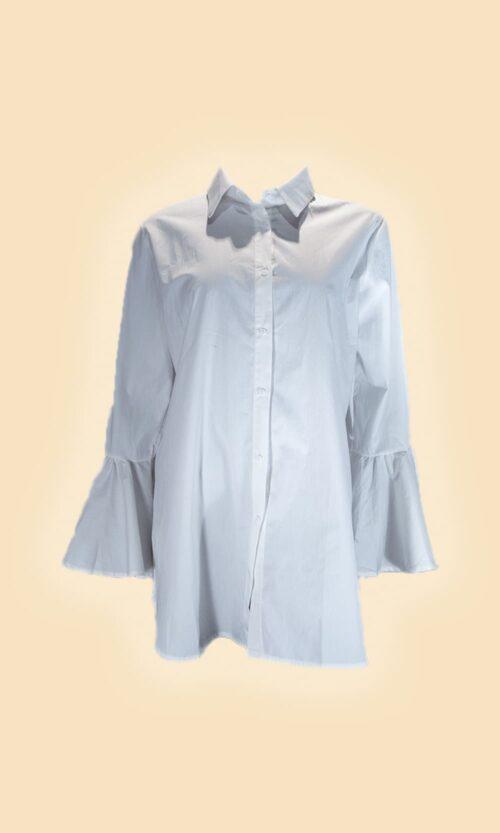 sao camisa puño volante blanca moda mujer