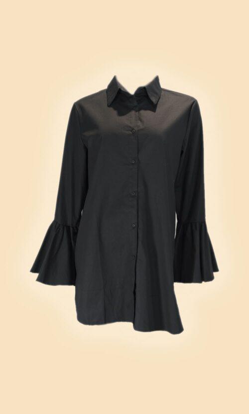 sao camisa puño volante negra moda mujer