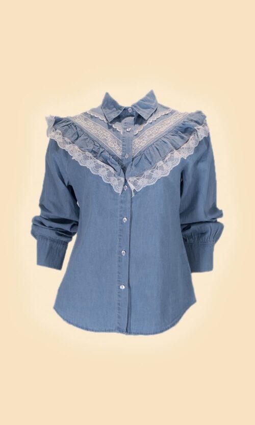 sao camisa tejana puntillas moda mujer