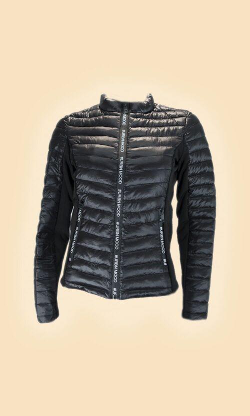 sao cazadora acolchada negra letras moda mujer
