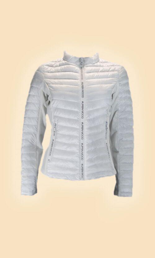 sao chaqueta acolchada letras blanca moda mujer