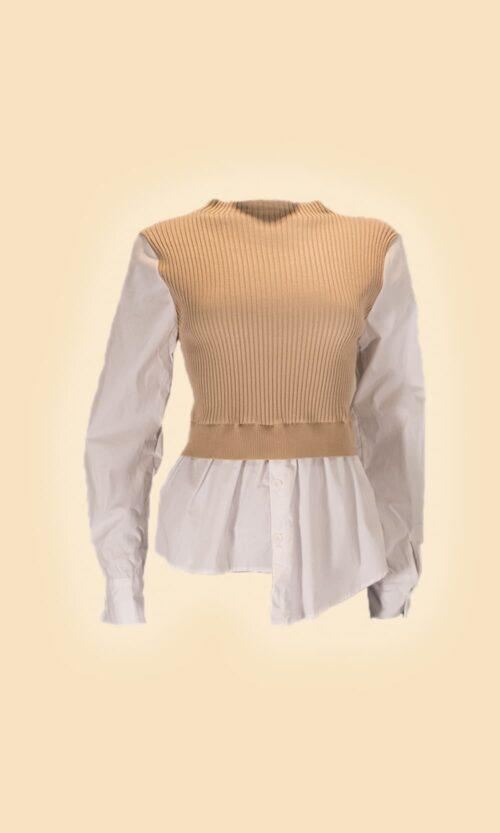 sao jersey camisa camel moda mujer
