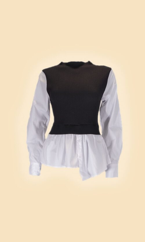 sao jersey camisa negro moda mujer