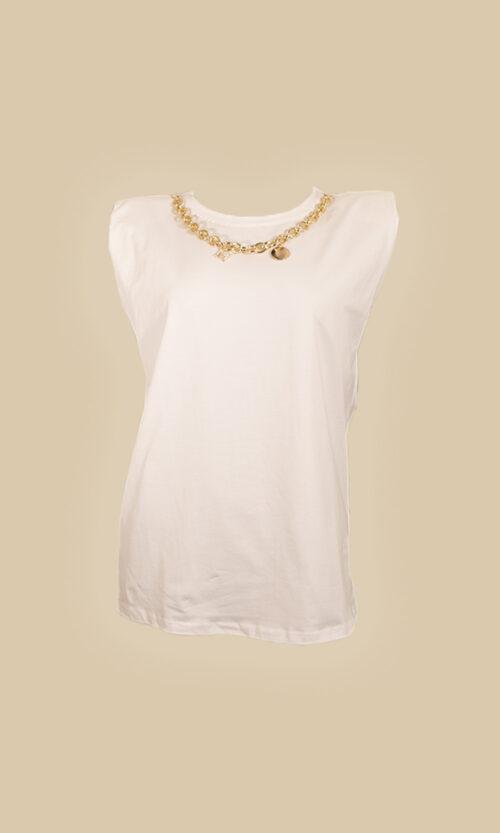 moda mujer camiseta hombreras