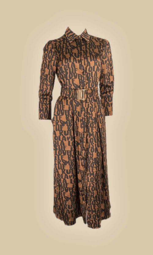 vestido camisero print letras moda mujer